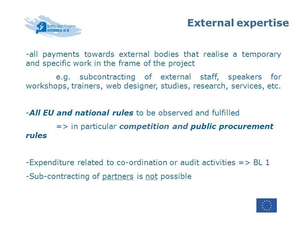 External expertise -all payments towards external bodies that realise a temporary and specific work in the frame of the project e.g.
