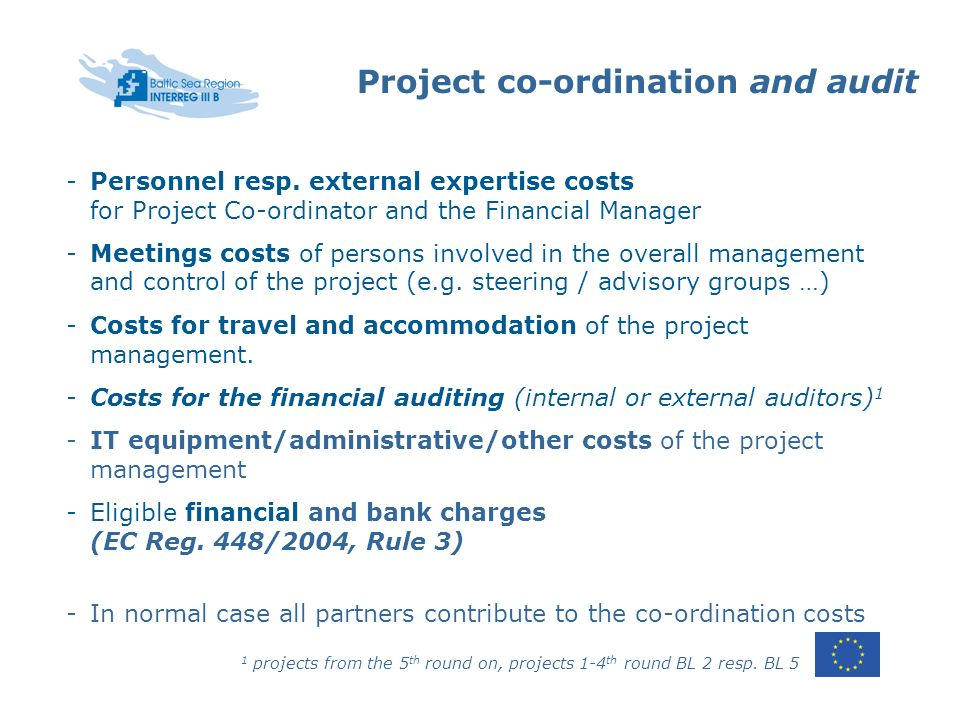 Project co-ordination and audit -Personnel resp.