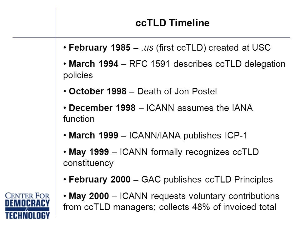 February 1985 –.us (first ccTLD) created at USC March 1994 – RFC 1591 describes ccTLD delegation policies October 1998 – Death of Jon Postel December 1998 – ICANN assumes the IANA function March 1999 – ICANN/IANA publishes ICP-1 May 1999 – ICANN formally recognizes ccTLD constituency February 2000 – GAC publishes ccTLD Principles May 2000 – ICANN requests voluntary contributions from ccTLD managers; collects 48% of invoiced total ccTLD Timeline
