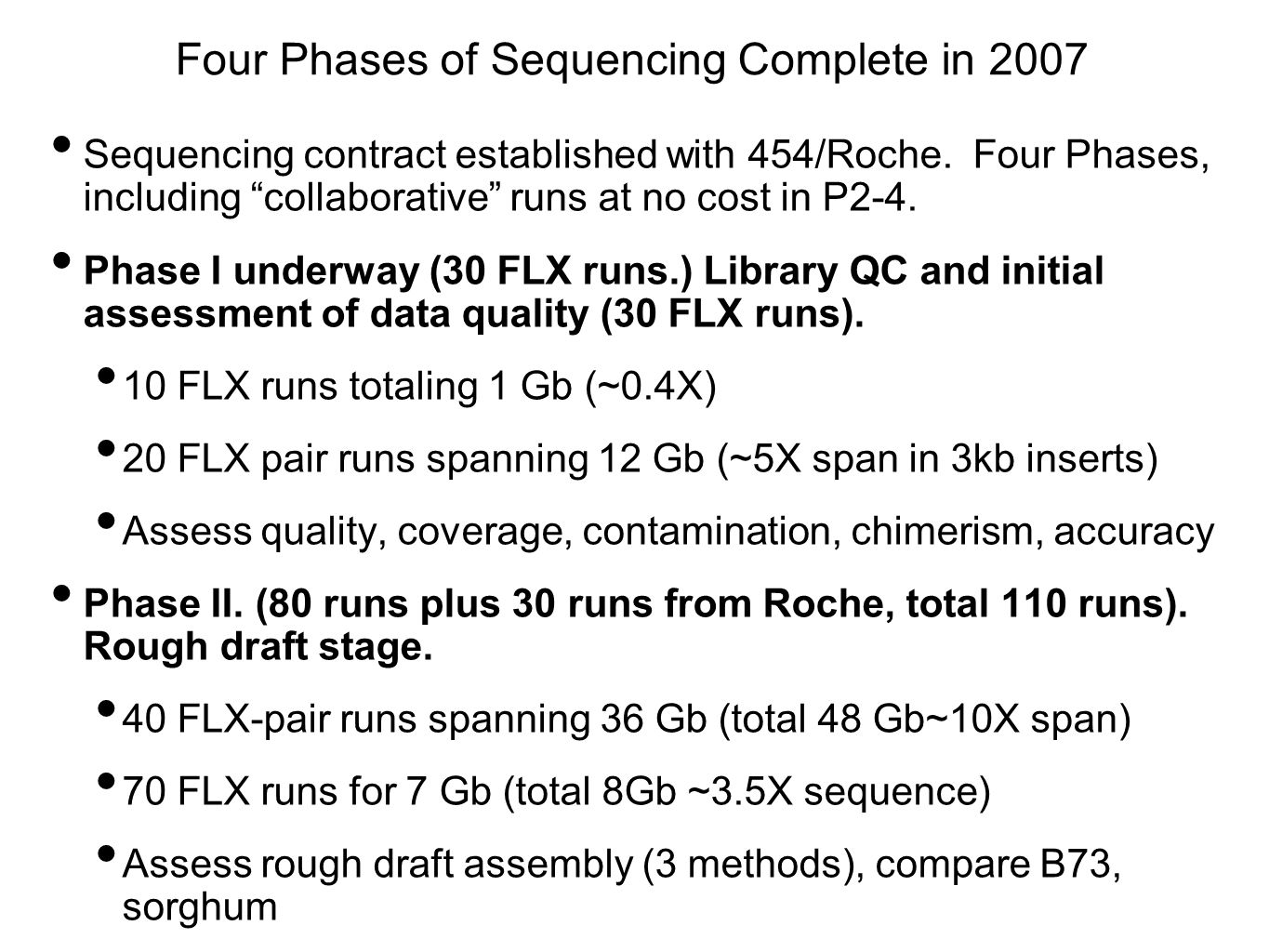 Four Phases of Sequencing Complete in 2007 Sequencing contract established with 454/Roche.