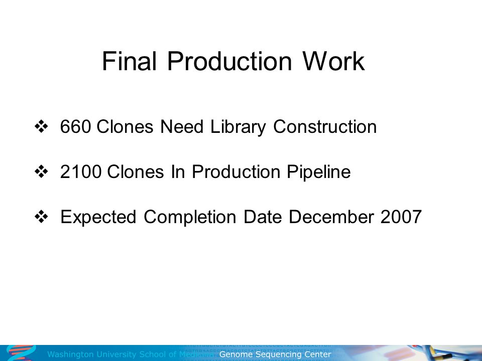 Final Production Work 660 Clones Need Library Construction 2100 Clones In Production Pipeline Expected Completion Date December 2007