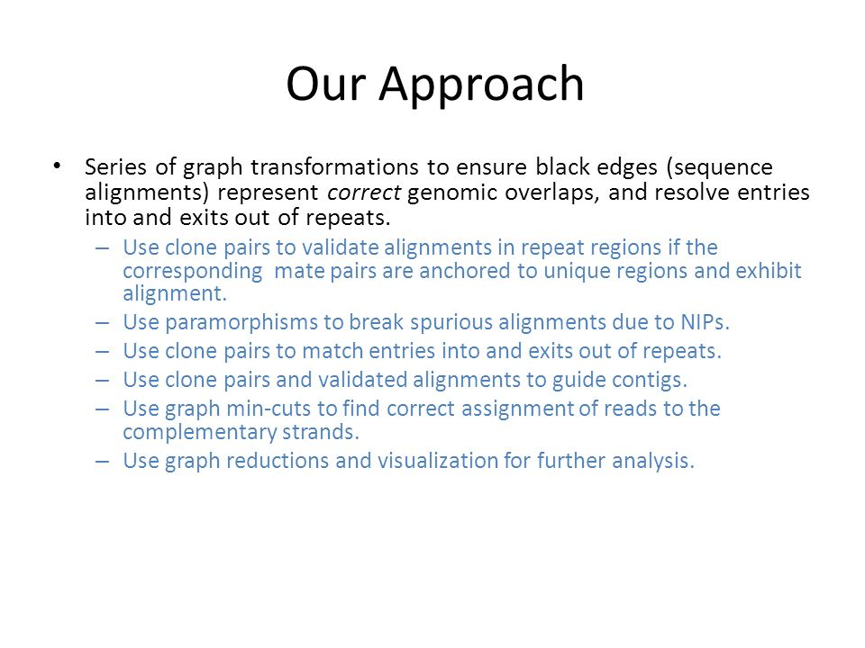 Our Approach Series of graph transformations to ensure black edges (sequence alignments) represent correct genomic overlaps, and resolve entries into and exits out of repeats.