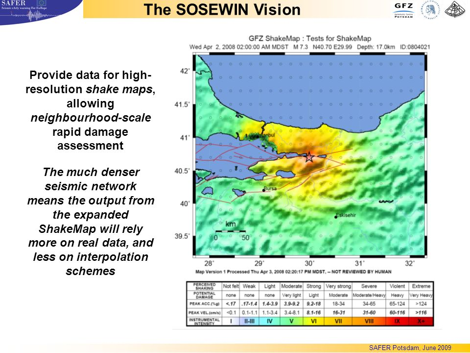 The much denser seismic network means the output from the expanded ShakeMap will rely more on real data, and less on interpolation schemes Provide data for high- resolution shake maps, allowing neighbourhood-scale rapid damage assessment The SOSEWIN Vision SAFER Potsdam, June 2009