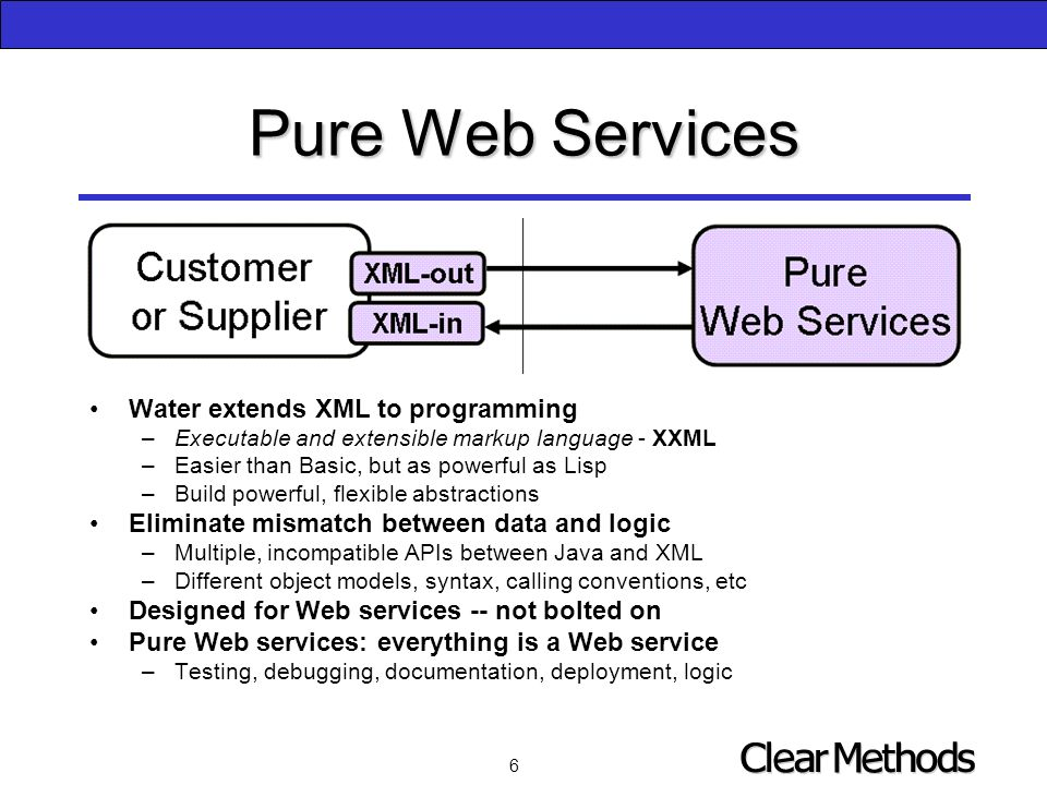 6 Pure Web Services Water extends XML to programming –Executable and extensible markup language - XXML –Easier than Basic, but as powerful as Lisp –Build powerful, flexible abstractions Eliminate mismatch between data and logic –Multiple, incompatible APIs between Java and XML –Different object models, syntax, calling conventions, etc Designed for Web services -- not bolted on Pure Web services: everything is a Web service –Testing, debugging, documentation, deployment, logic