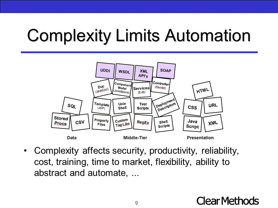 9 Complexity Limits Automation Complexity affects security, productivity, reliability, cost, training, time to market, flexibility, ability to abstract and automate,...