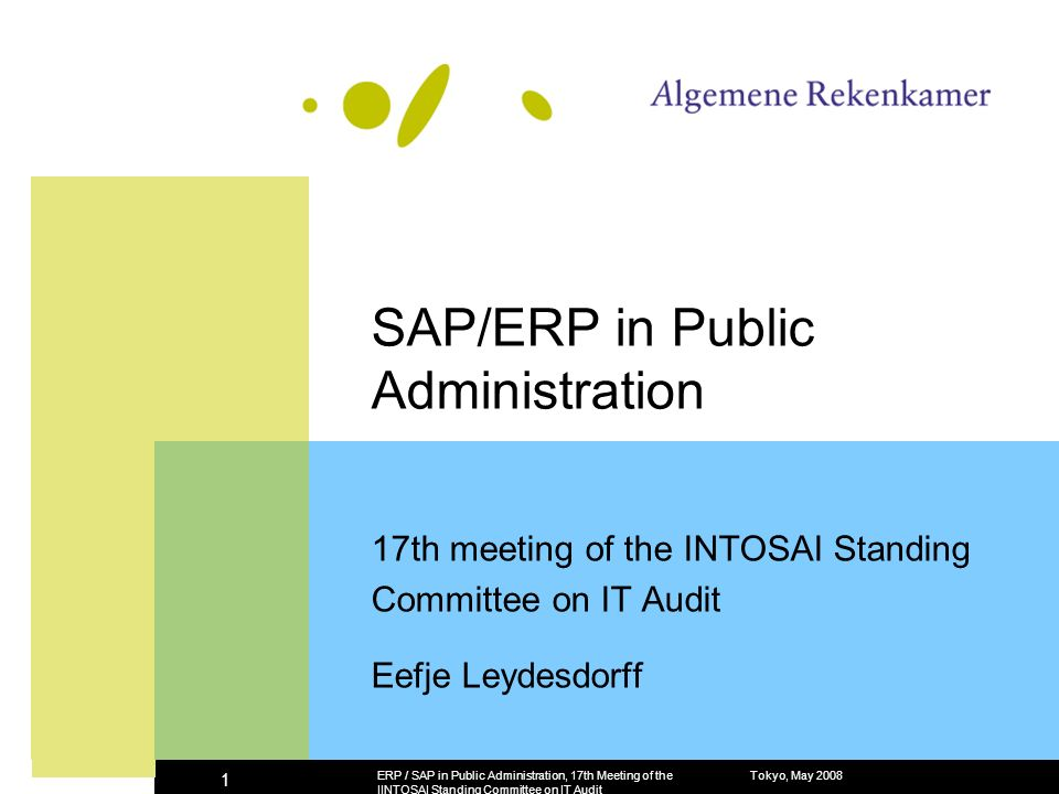 Tokyo, May 2008ERP / SAP in Public Administration, 17th Meeting of the IINTOSAI Standing Committee on IT Audit 1 SAP/ERP in Public Administration 17th meeting of the INTOSAI Standing Committee on IT Audit Eefje Leydesdorff