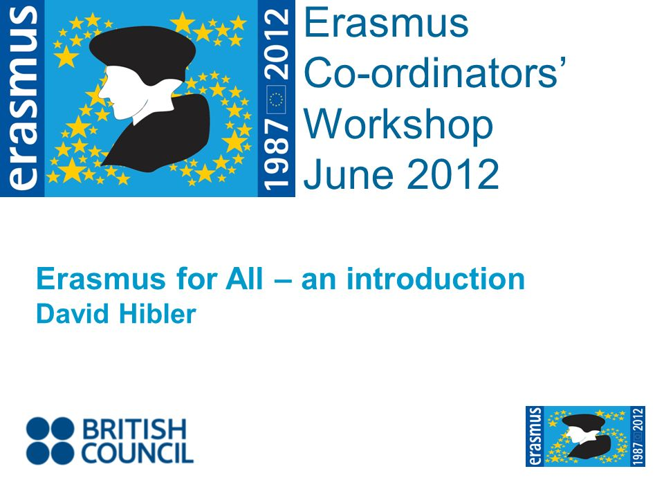 Event Title Name Erasmus Co-ordinators Workshop June 2012 Erasmus for All – an introduction David Hibler