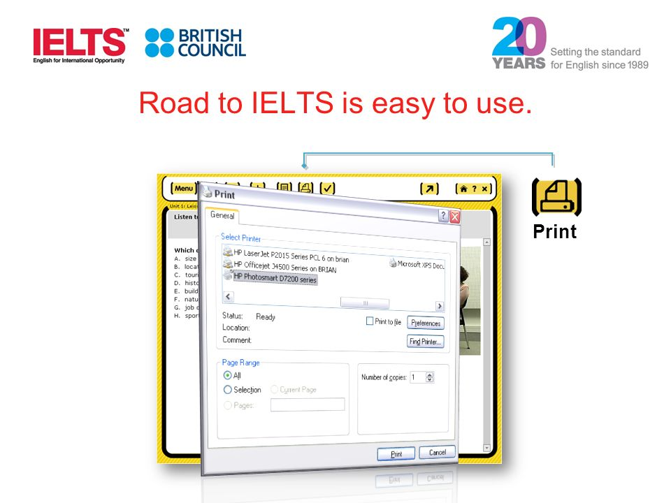 Print Road to IELTS is easy to use.