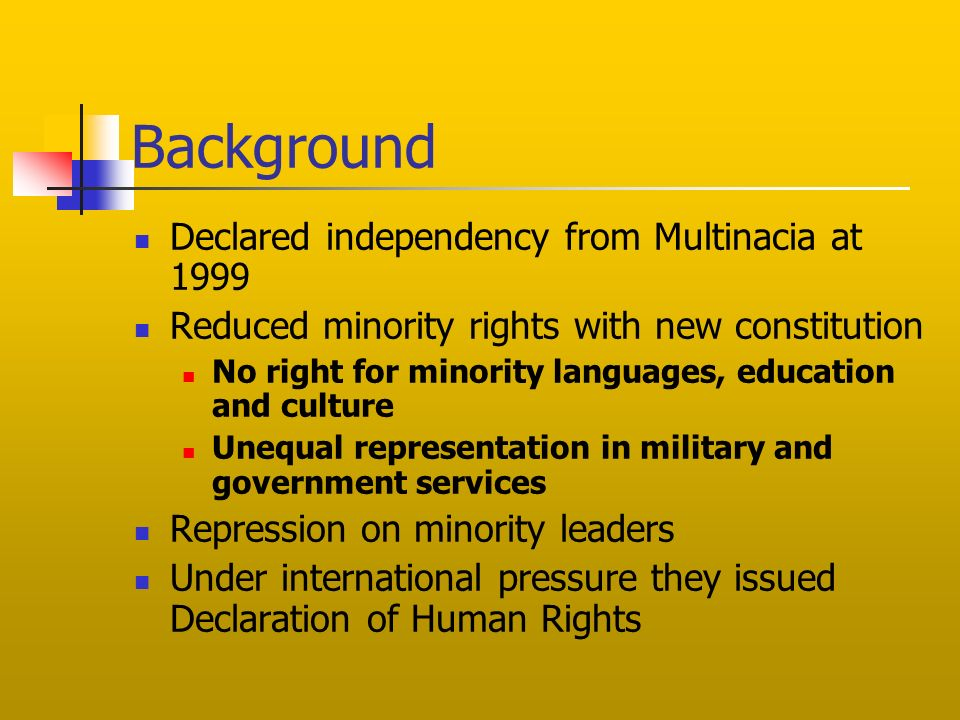 Background Declared independency from Multinacia at 1999 Reduced minority rights with new constitution No right for minority languages, education and culture Unequal representation in military and government services Repression on minority leaders Under international pressure they issued Declaration of Human Rights