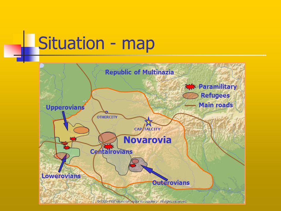 Situation - map Centalrovians Upperovians Lowerovians Outerovians Novarovia CAPITALCITY OTHERCITY Paramilitary Main roads Republic of Multinazia Refugees