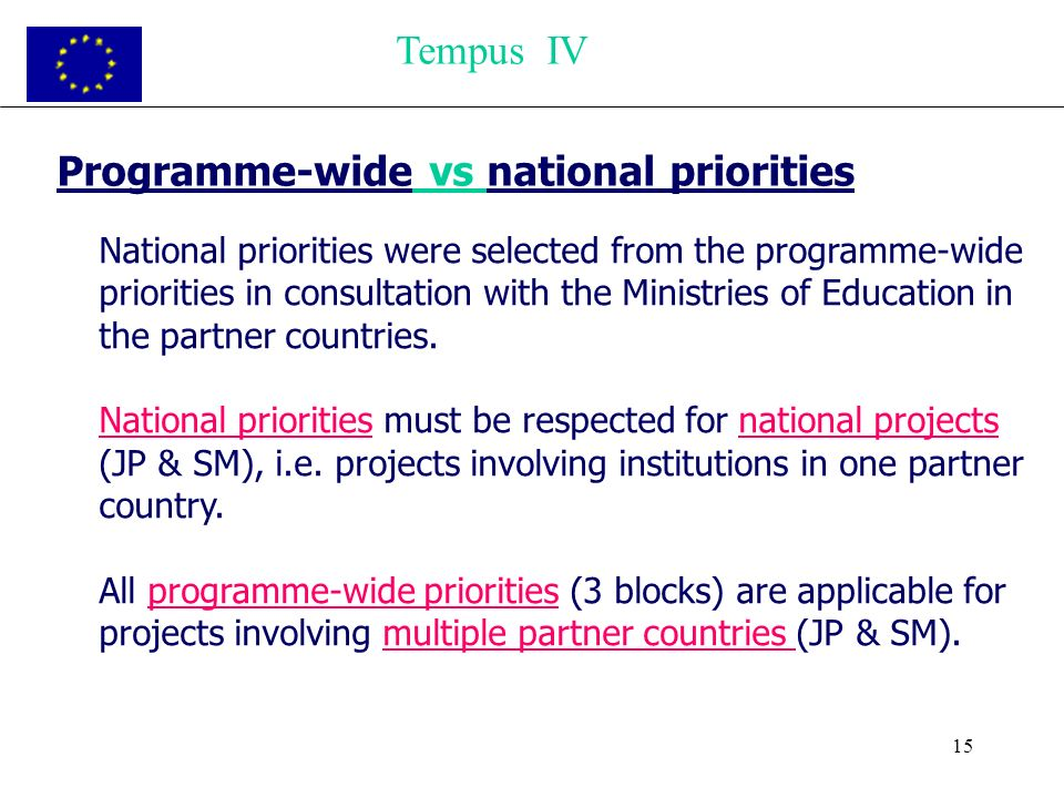 15 Programme-wide vs national priorities National priorities were selected from the programme-wide priorities in consultation with the Ministries of Education in the partner countries.