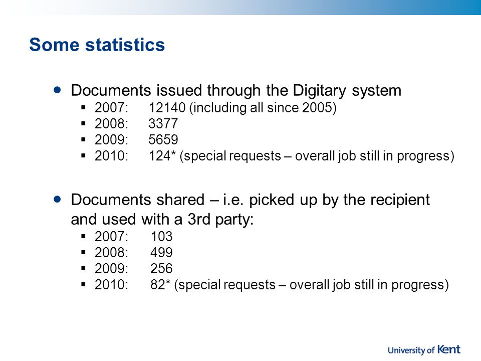 Some statistics Documents issued through the Digitary system 2007: 12140 (including all since 2005) 2008: 3377 2009: 5659 2010: 124* (special requests – overall job still in progress) Documents shared – i.e.