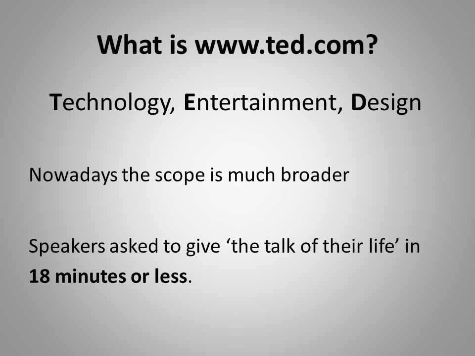What is www.ted.com.