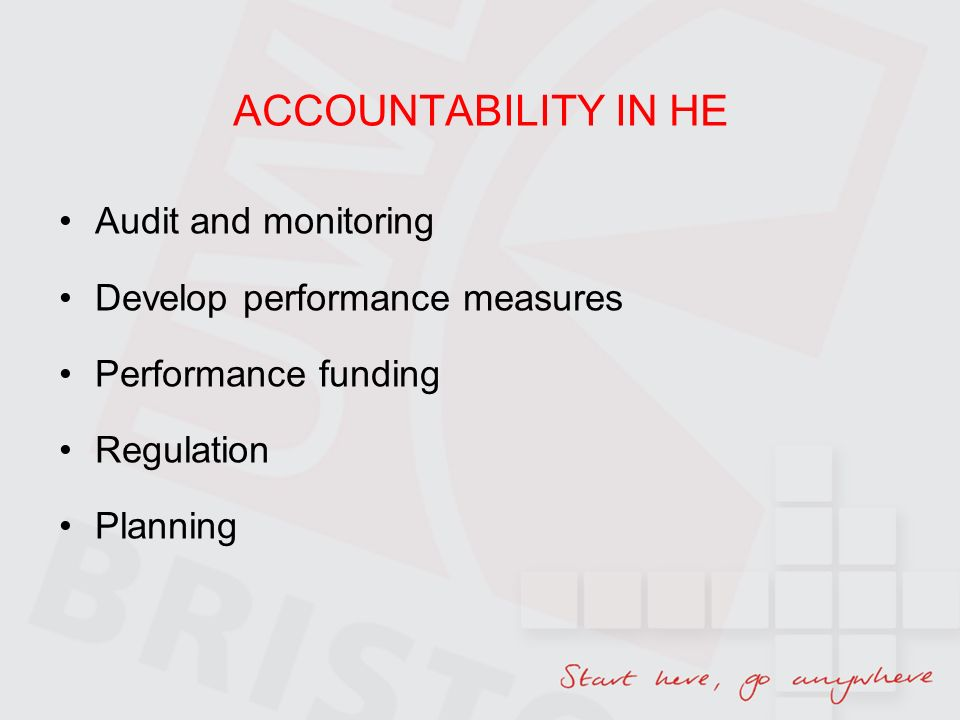 ACCOUNTABILITY IN HE Audit and monitoring Develop performance measures Performance funding Regulation Planning