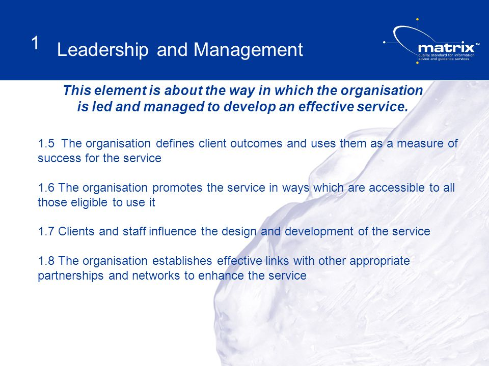 This element is about the way in which the organisation is led and managed to develop an effective service.