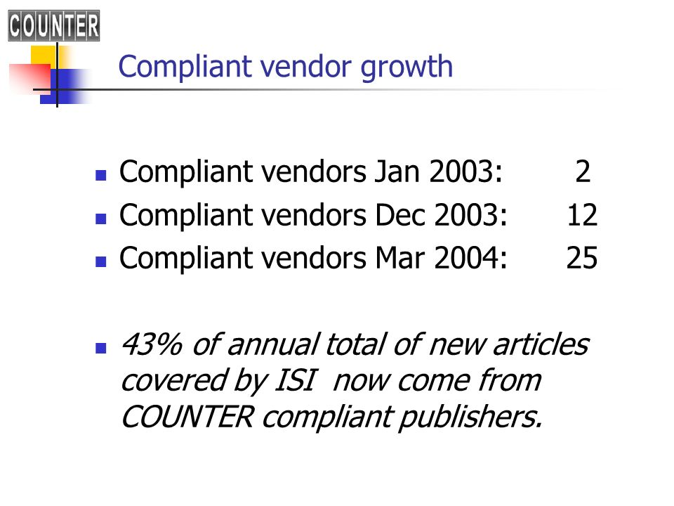 Compliant vendor growth Compliant vendors Jan 2003: 2 Compliant vendors Dec 2003:12 Compliant vendors Mar 2004:25 43% of annual total of new articles covered by ISI now come from COUNTER compliant publishers.