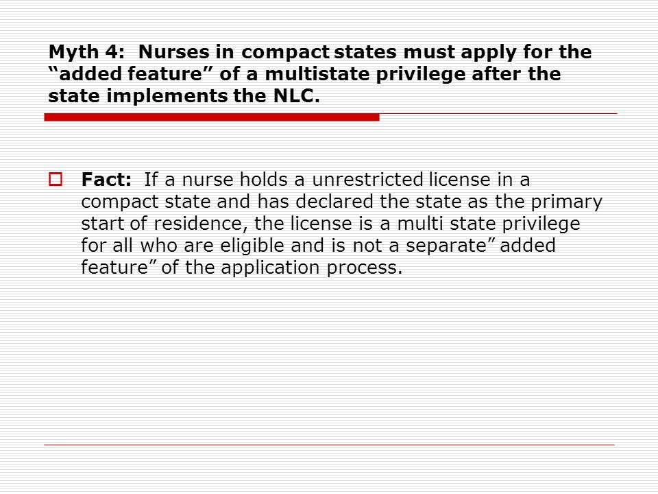 Myth 4: Nurses in compact states must apply for the added feature of a multistate privilege after the state implements the NLC.