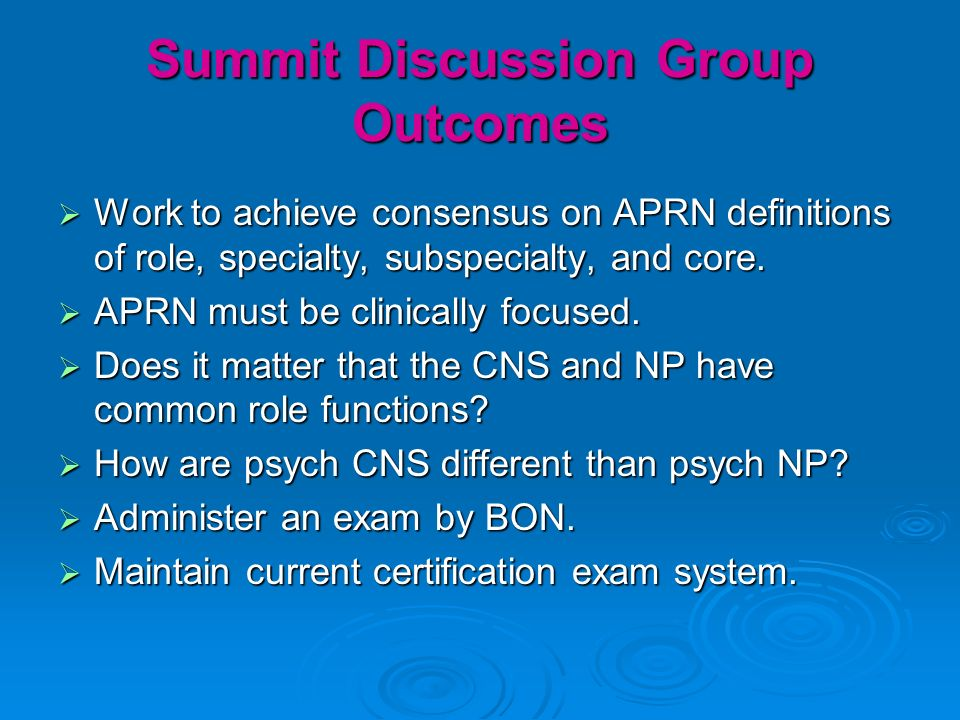 Summit Discussion Group Outcomes Work to achieve consensus on APRN definitions of role, specialty, subspecialty, and core.
