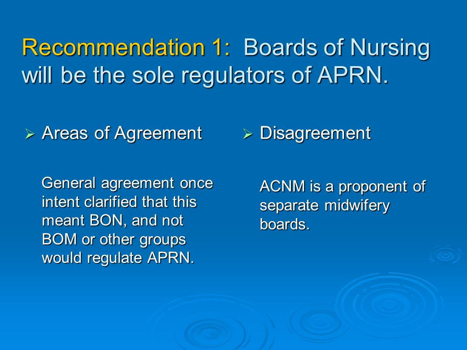 Recommendation 1: Boards of Nursing will be the sole regulators of APRN.