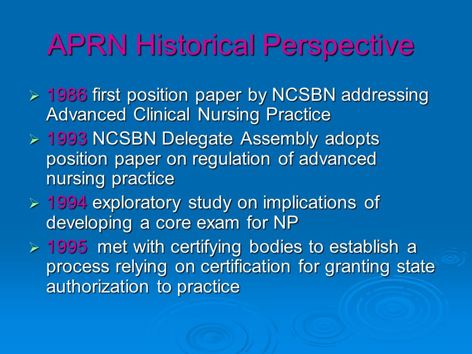 APRN Historical Perspective 1986 first position paper by NCSBN addressing Advanced Clinical Nursing Practice 1986 first position paper by NCSBN addressing Advanced Clinical Nursing Practice 1993 NCSBN Delegate Assembly adopts position paper on regulation of advanced nursing practice 1993 NCSBN Delegate Assembly adopts position paper on regulation of advanced nursing practice 1994 exploratory study on implications of developing a core exam for NP 1994 exploratory study on implications of developing a core exam for NP 1995 met with certifying bodies to establish a process relying on certification for granting state authorization to practice 1995 met with certifying bodies to establish a process relying on certification for granting state authorization to practice