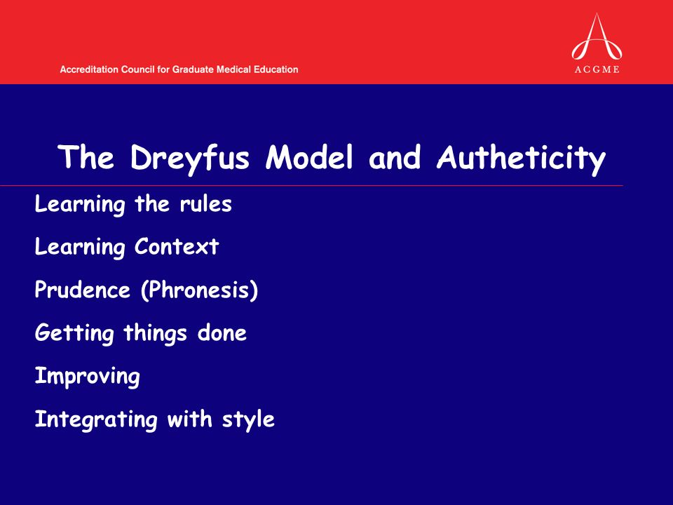 The Dreyfus Model and Autheticity Learning the rules Learning Context Prudence (Phronesis) Getting things done Improving Integrating with style