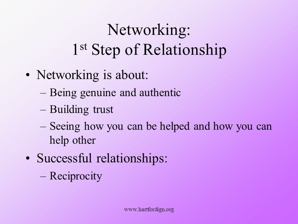 www.hartfordign.org Networking: 1 st Step of Relationship Networking is about: –Being genuine and authentic –Building trust –Seeing how you can be helped and how you can help other Successful relationships: –Reciprocity