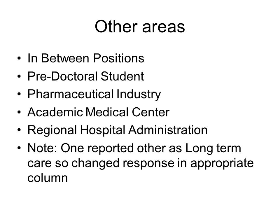 Other areas In Between Positions Pre-Doctoral Student Pharmaceutical Industry Academic Medical Center Regional Hospital Administration Note: One reported other as Long term care so changed response in appropriate column
