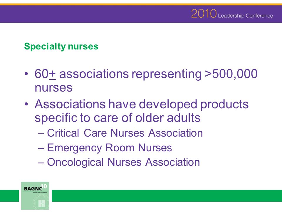 Specialty nurses 60+ associations representing >500,000 nurses Associations have developed products specific to care of older adults –Critical Care Nurses Association –Emergency Room Nurses –Oncological Nurses Association