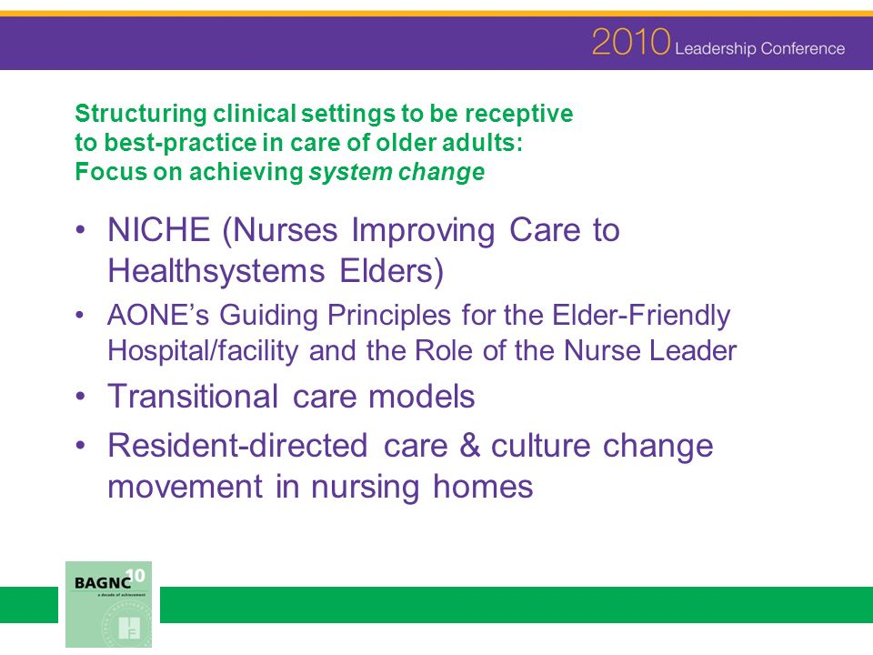 Structuring clinical settings to be receptive to best-practice in care of older adults: Focus on achieving system change NICHE (Nurses Improving Care to Healthsystems Elders) AONEs Guiding Principles for the Elder-Friendly Hospital/facility and the Role of the Nurse Leader Transitional care models Resident-directed care & culture change movement in nursing homes