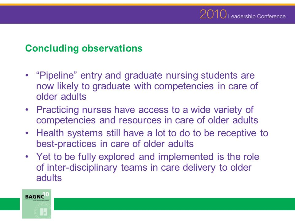 Concluding observations Pipeline entry and graduate nursing students are now likely to graduate with competencies in care of older adults Practicing nurses have access to a wide variety of competencies and resources in care of older adults Health systems still have a lot to do to be receptive to best-practices in care of older adults Yet to be fully explored and implemented is the role of inter-disciplinary teams in care delivery to older adults