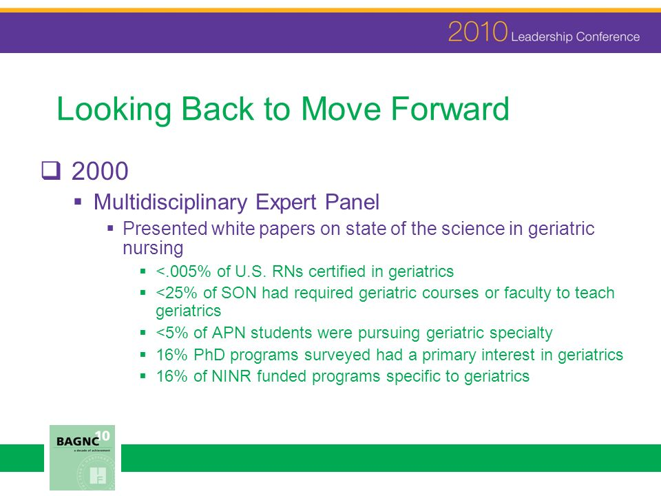 Looking Back to Move Forward 2000 Multidisciplinary Expert Panel Presented white papers on state of the science in geriatric nursing <.005% of U.S.