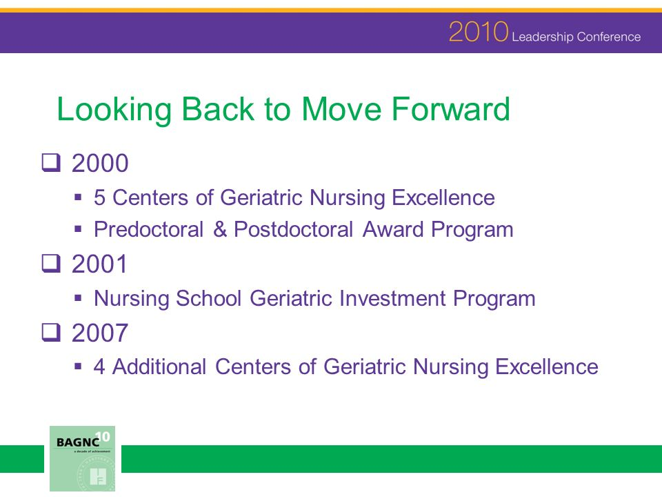 Looking Back to Move Forward 2000 5 Centers of Geriatric Nursing Excellence Predoctoral & Postdoctoral Award Program 2001 Nursing School Geriatric Investment Program 2007 4 Additional Centers of Geriatric Nursing Excellence