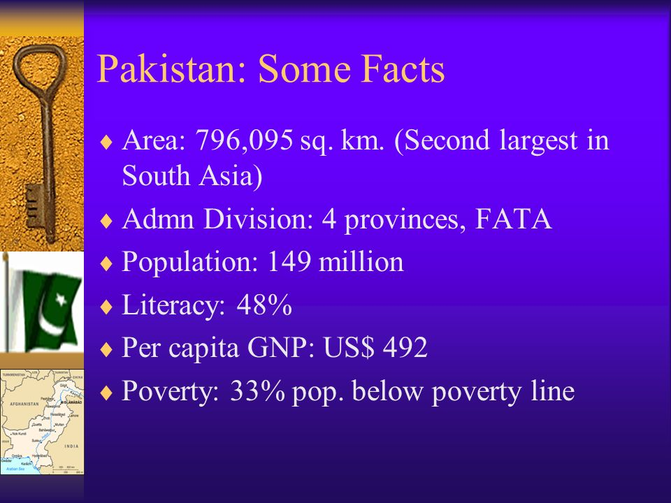Pakistan: Some Facts Area: 796,095 sq. km.