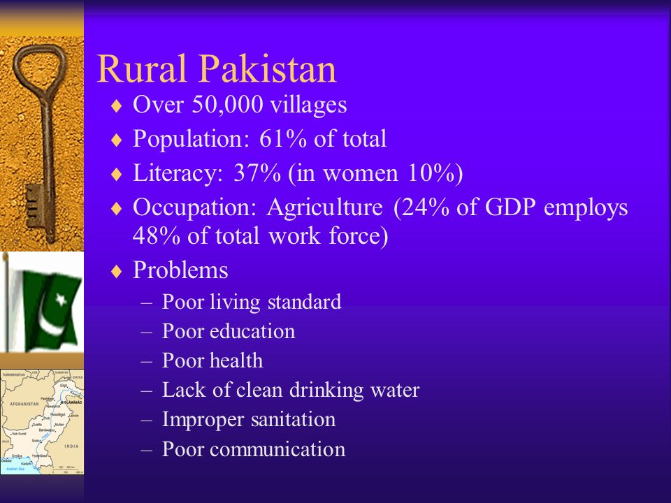 Rural Pakistan Over 50,000 villages Population: 61% of total Literacy: 37% (in women 10%) Occupation: Agriculture (24% of GDP employs 48% of total work force) Problems –Poor living standard –Poor education –Poor health –Lack of clean drinking water –Improper sanitation –Poor communication