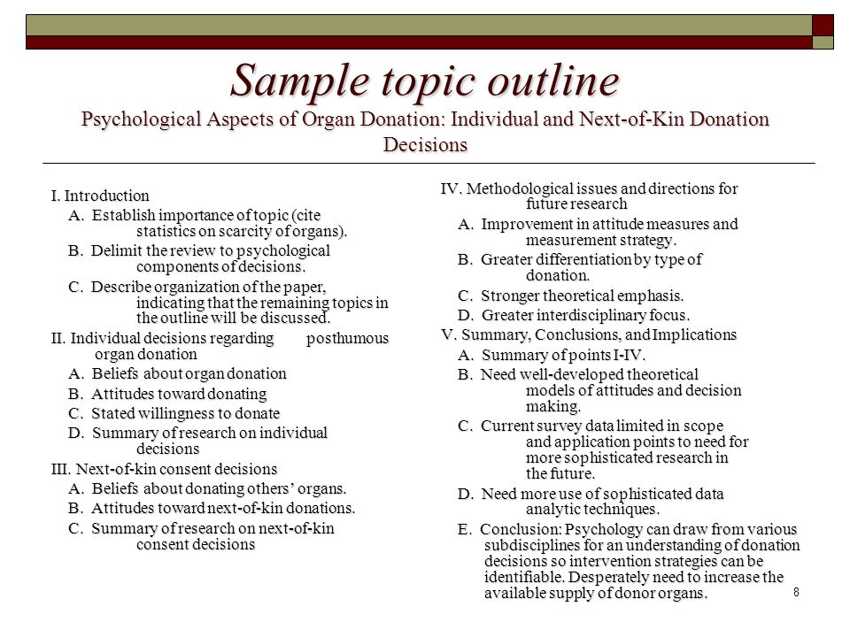 8 Sample topic outline Psychological Aspects of Organ Donation: Individual and Next-of-Kin Donation Decisions I.