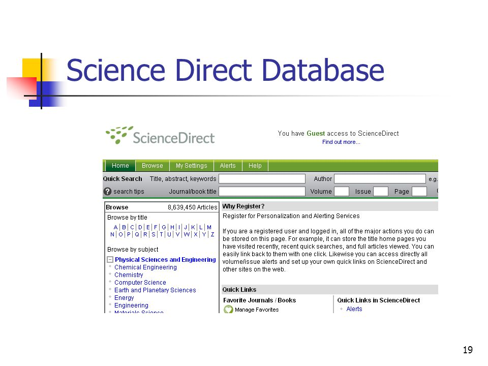 19 Science Direct Database