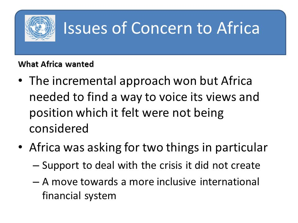Issues of Concern to Africa What Africa wanted The incremental approach won but Africa needed to find a way to voice its views and position which it felt were not being considered Africa was asking for two things in particular – Support to deal with the crisis it did not create – A move towards a more inclusive international financial system