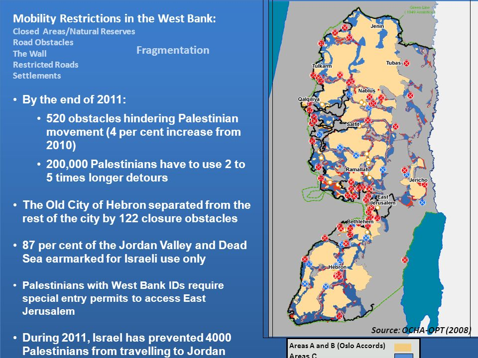 Areas A and B (Oslo Accords) Areas C Source: OCHA-OPT (2008) Mobility Restrictions in the West Bank: Closed Areas/Natural Reserves Road Obstacles The Wall Restricted Roads Settlements By the end of 2011: 520 obstacles hindering Palestinian movement (4 per cent increase from 2010) 200,000 Palestinians have to use 2 to 5 times longer detours The Old City of Hebron separated from the rest of the city by 122 closure obstacles 87 per cent of the Jordan Valley and Dead Sea earmarked for Israeli use only Palestinians with West Bank IDs require special entry permits to access East Jerusalem During 2011, Israel has prevented 4000 Palestinians from travelling to Jordan Fragmentation