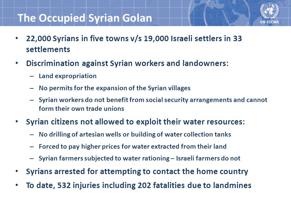 22,000 Syrians in five towns v/s 19,000 Israeli settlers in 33 settlements Discrimination against Syrian workers and landowners: – Land expropriation – No permits for the expansion of the Syrian villages – Syrian workers do not benefit from social security arrangements and cannot form their own trade unions Syrian citizens not allowed to exploit their water resources: – No drilling of artesian wells or building of water collection tanks – Forced to pay higher prices for water extracted from their land – Syrian farmers subjected to water rationing – Israeli farmers do not Syrians arrested for attempting to contact the home country To date, 532 injuries including 202 fatalities due to landmines