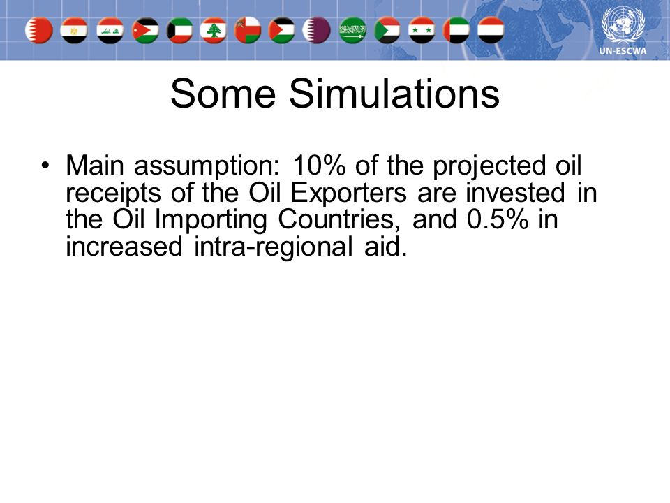 Some Simulations Main assumption: 10% of the projected oil receipts of the Oil Exporters are invested in the Oil Importing Countries, and 0.5% in increased intra-regional aid.