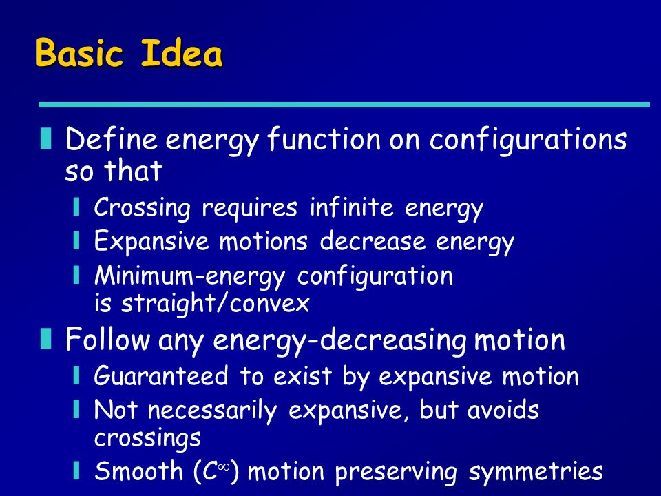Basic Idea zDefine energy function on configurations so that yCrossing requires infinite energy yExpansive motions decrease energy yMinimum-energy configuration is straight/convex zFollow any energy-decreasing motion yGuaranteed to exist by expansive motion yNot necessarily expansive, but avoids crossings ySmooth (C ) motion preserving symmetries