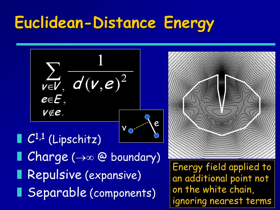 Euclidean-Distance Energy zC 1,1 (Lipschitz) zCharge ( @ boundary) zRepulsive (expansive) zSeparable (components) Energy field applied to an additional point not on the white chain, ignoring nearest terms e v