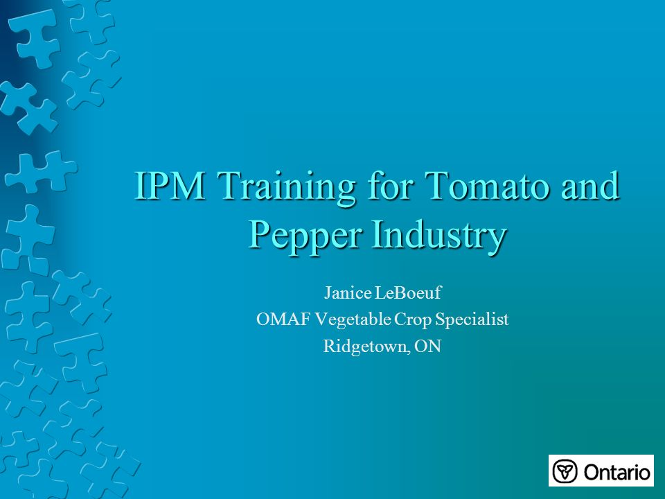 IPM Training for Tomato and Pepper Industry Janice LeBoeuf OMAF Vegetable Crop Specialist Ridgetown, ON