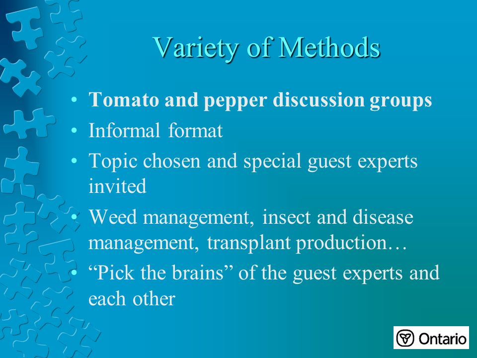 Variety of Methods Tomato and pepper discussion groups Informal format Topic chosen and special guest experts invited Weed management, insect and disease management, transplant production… Pick the brains of the guest experts and each other