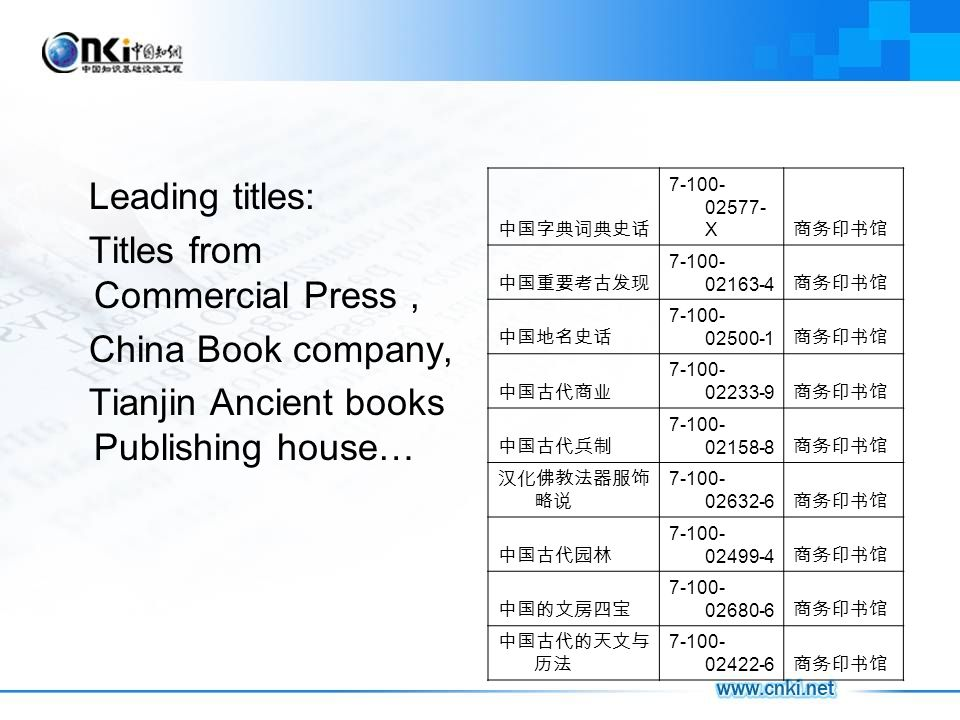 Leading titles: Titles from Commercial Press, China Book company, Tianjin Ancient books Publishing house… 7-100- 02577- X 7-100- 02163-4 7-100- 02500-1 7-100- 02233-9 7-100- 02158-8 7-100- 02632-6 7-100- 02499-4 7-100- 02680-6 7-100- 02422-6