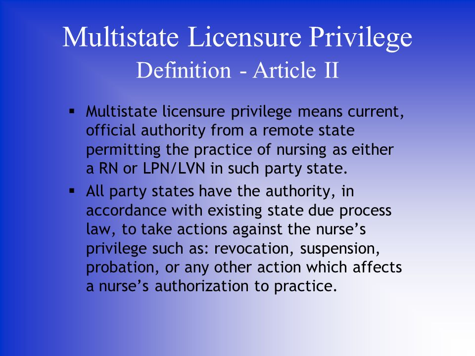Multistate licensure privilege means current, official authority from a remote state permitting the practice of nursing as either a RN or LPN/LVN in such party state.