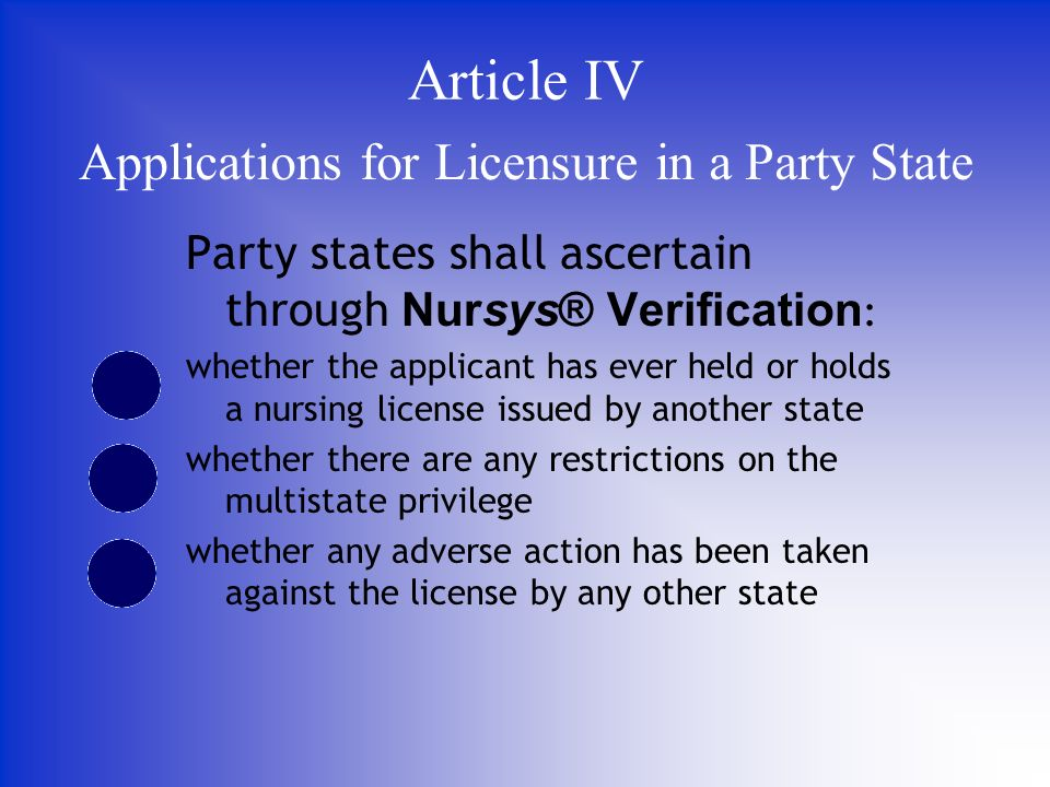Party states shall ascertain through Nursys® Verification : whether the applicant has ever held or holds a nursing license issued by another state whether there are any restrictions on the multistate privilege whether any adverse action has been taken against the license by any other state Applications for Licensure in a Party State Article IV
