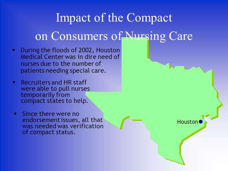 on Consumers of Nursing Care During the floods of 2002, Houston Medical Center was in dire need of nurses due to the number of patients needing special care.