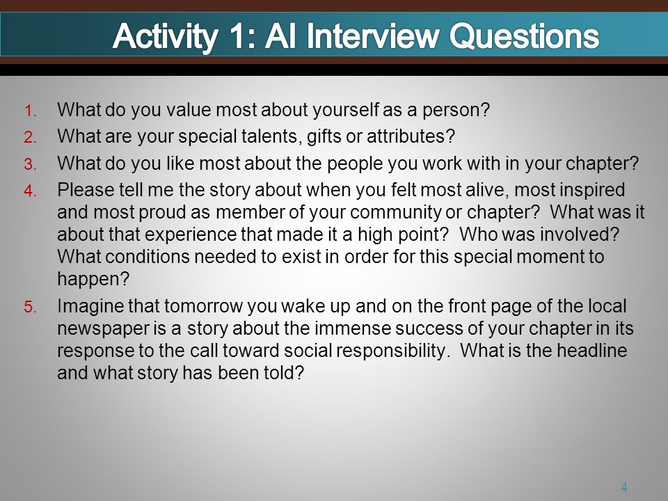 1. What do you value most about yourself as a person.