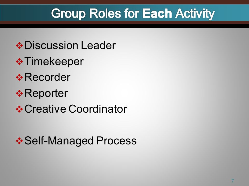 Discussion Leader Timekeeper Recorder Reporter Creative Coordinator Self-Managed Process 7